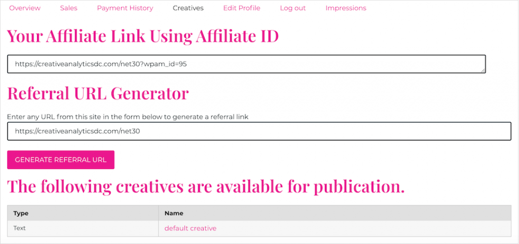 Affiliate Dashboard - Creative and link